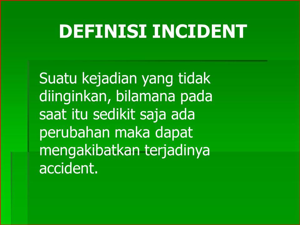 DEFINISI INCIDENT Suatu kejadian yang tidak diinginkan, bilamana pada saat itu sedikit saja ada perubahan maka dapat mengakibatkan terjadinya accident