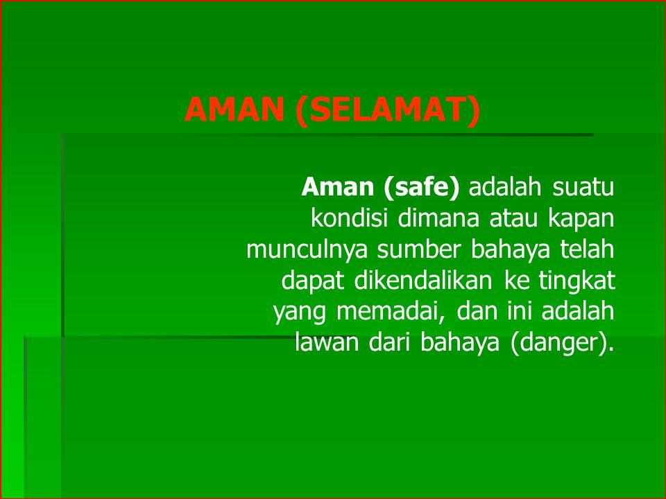 AMAN (SELAMAT) Aman (safe) adalah suatu kondisi dimana atau kapan munculnya sumber bahaya telah dapat dikendalikan ke tingkat yang memadai, dan ini a