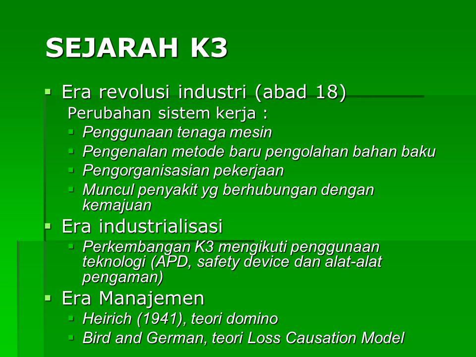  Era revolusi industri (abad 18)  Perubahan sistem kerja :  Penggunaan tenaga mesin  Pengenalan metode baru pengolahan bahan baku  Pengorganisasi