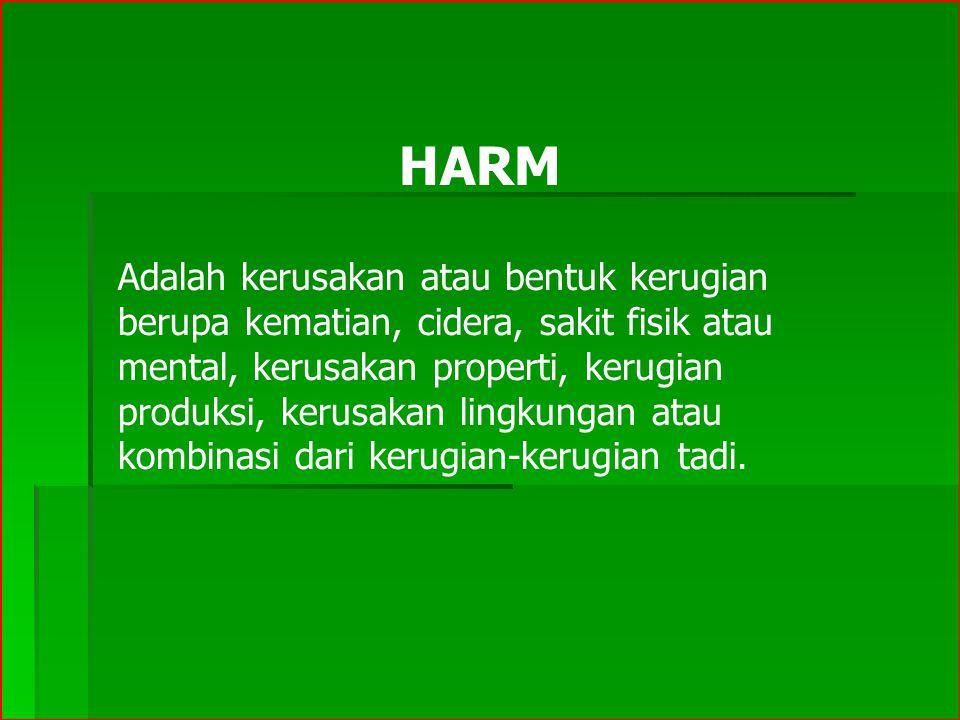 HARM Adalah kerusakan atau bentuk kerugian berupa kematian, cidera, sakit fisik atau mental, kerusakan properti, kerugian produksi, kerusakan lingkung