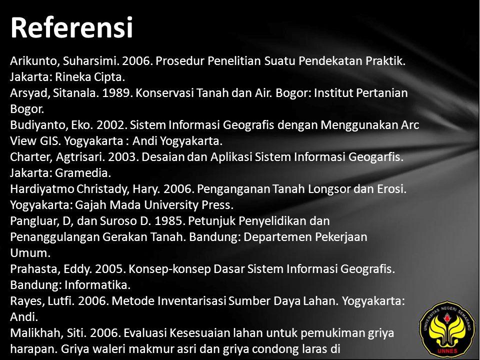 Referensi Arikunto, Suharsimi. 2006. Prosedur Penelitian Suatu Pendekatan Praktik. Jakarta: Rineka Cipta. Arsyad, Sitanala. 1989. Konservasi Tanah dan
