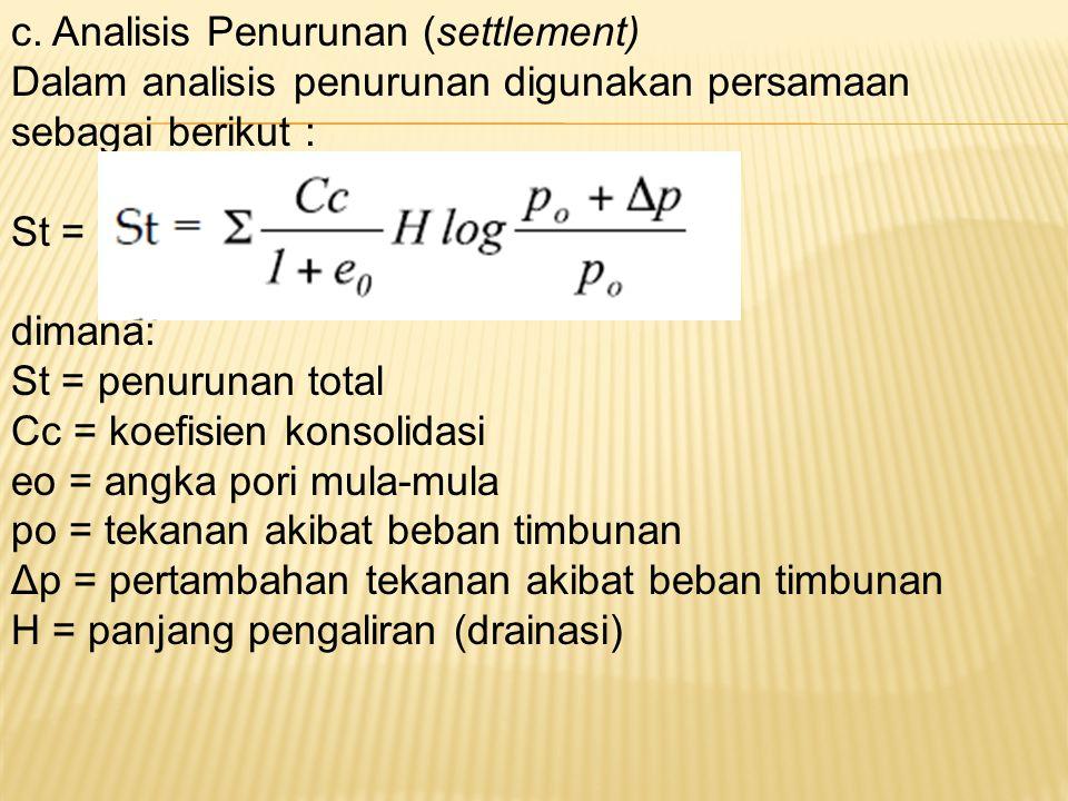 c. Analisis Penurunan (settlement) Dalam analisis penurunan digunakan persamaan sebagai berikut : St = dimana: St = penurunan total Cc = koefisien kon