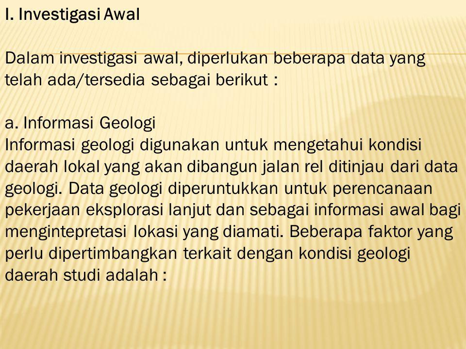 I. Investigasi Awal Dalam investigasi awal, diperlukan beberapa data yang telah ada/tersedia sebagai berikut : a. Informasi Geologi Informasi geologi