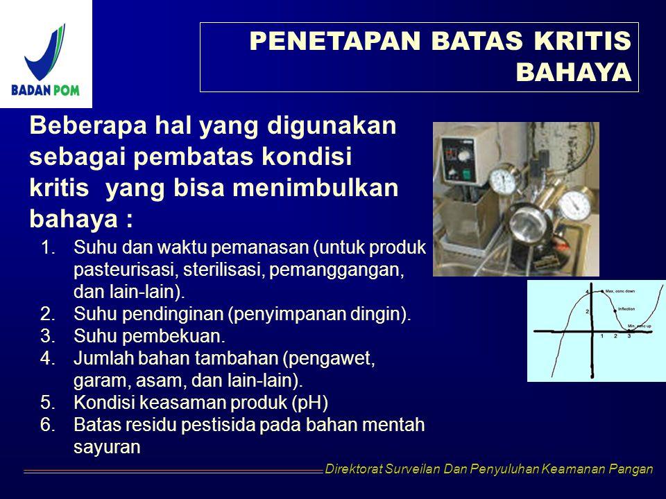Direktorat Surveilan Dan Penyuluhan Keamanan Pangan PENETAPAN BATAS KRITIS BAHAYA Beberapa hal yang digunakan sebagai pembatas kondisi kritis yang bis