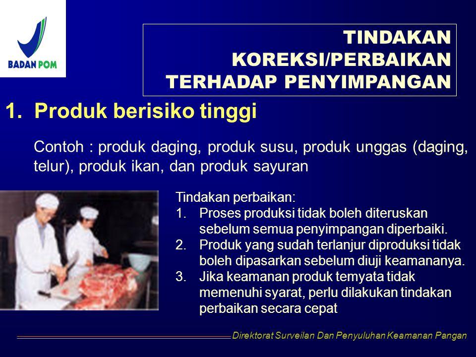 Direktorat Surveilan Dan Penyuluhan Keamanan Pangan TINDAKAN KOREKSI/PERBAIKAN TERHADAP PENYIMPANGAN 1. Produk berisiko tinggi Contoh : produk daging,