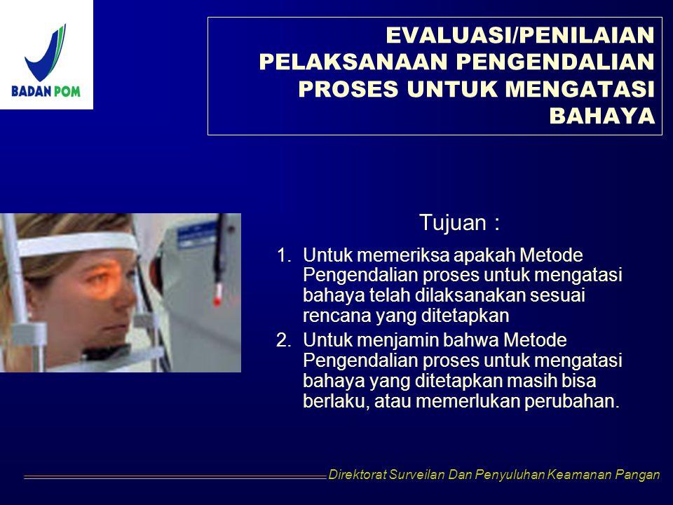 Direktorat Surveilan Dan Penyuluhan Keamanan Pangan EVALUASI/PENILAIAN PELAKSANAAN PENGENDALIAN PROSES UNTUK MENGATASI BAHAYA Tujuan : 1.Untuk memerik