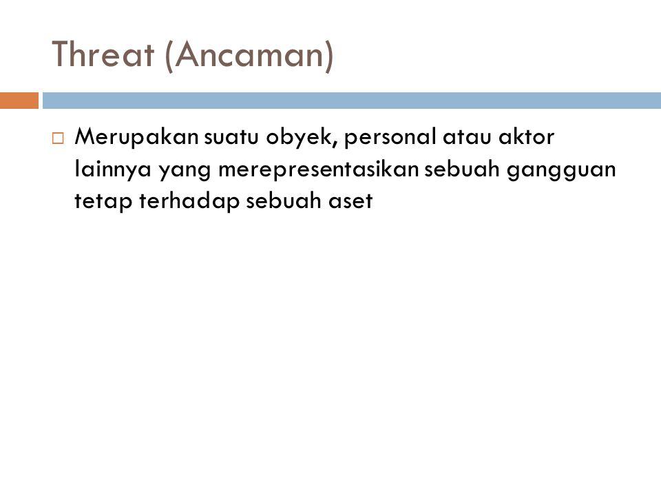 Threat (Ancaman)  Merupakan suatu obyek, personal atau aktor lainnya yang merepresentasikan sebuah gangguan tetap terhadap sebuah aset