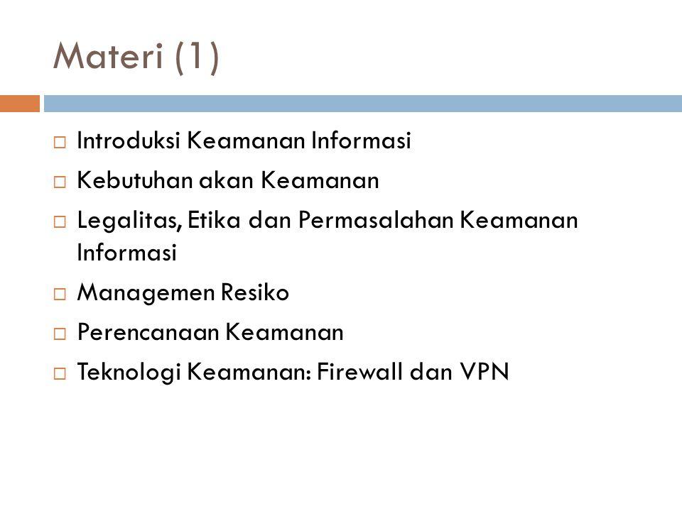Materi (2)  Teknologi Keamanan: Deteksi Intrusi, Kontrol Akses dan Peralatan Keamanan Lainnya  Kriptografi  Keamanan Fisik  Implementasi Keamanan Informasi  Keamanan dan Personel  Pengelolaan Keamanan Informasi