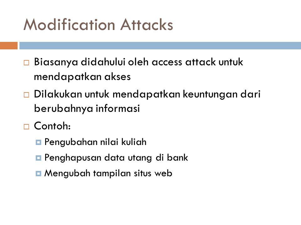 Modification Attacks  Biasanya didahului oleh access attack untuk mendapatkan akses  Dilakukan untuk mendapatkan keuntungan dari berubahnya informas