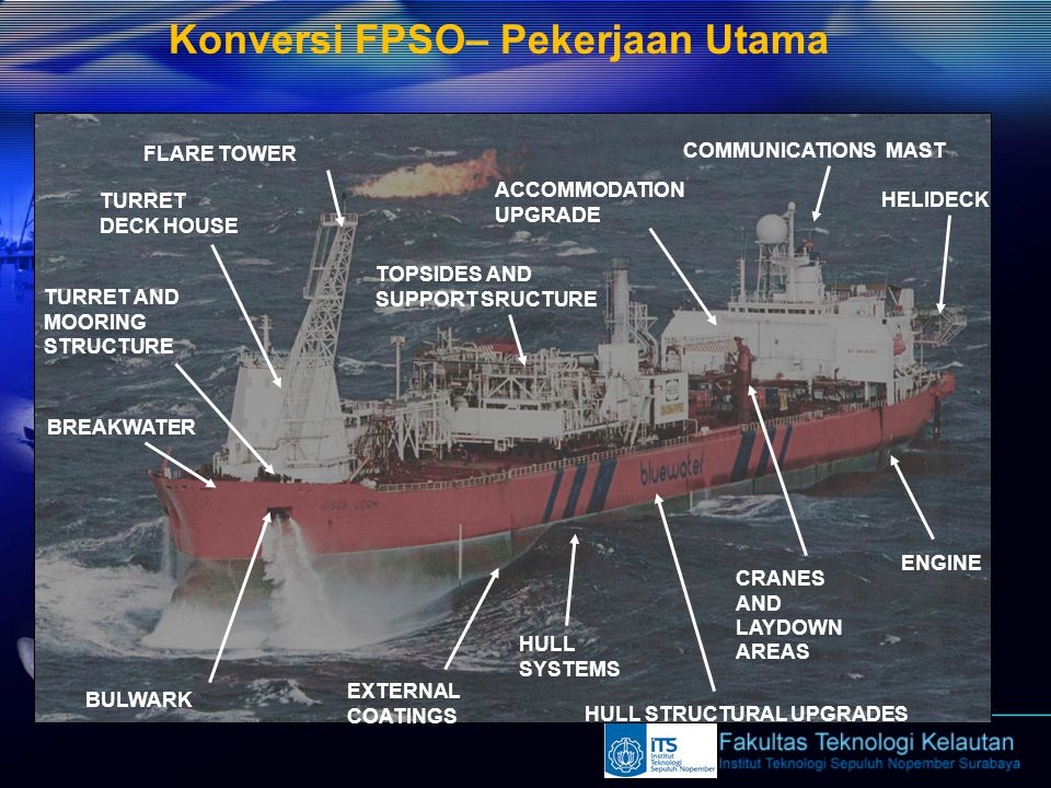 Konversi FPSO– Pekerjaan Utama HELIDECK COMMUNICATIONS MAST EXTERNAL COATINGS ENGINE ACCOMMODATION UPGRADE CRANES AND LAYDOWN AREAS HULL STRUCTURAL UP