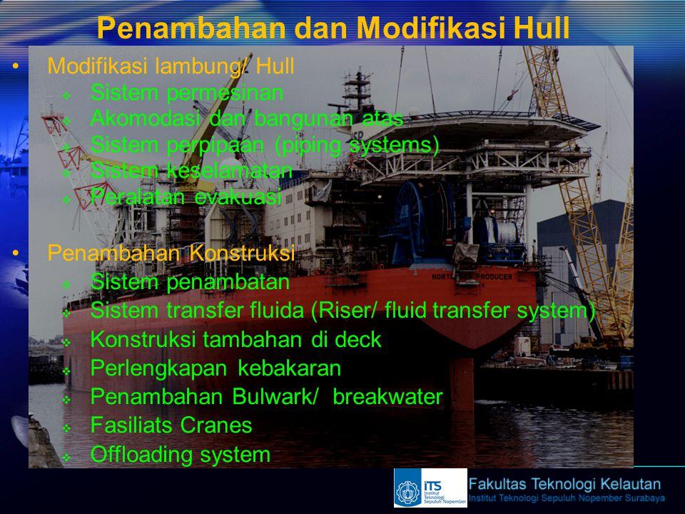 Penambahan dan Modifikasi Hull Modifikasi lambung/ Hull  Sistem permesinan  Akomodasi dan bangunan atas  Sistem perpipaan (piping systems)  Sistem