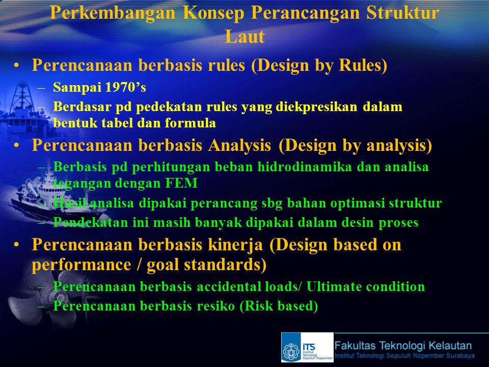 Perkembangan Konsep Perancangan Struktur Laut Perencanaan berbasis rules (Design by Rules) –Sampai 1970's –Berdasar pd pedekatan rules yang diekpresikan dalam bentuk tabel dan formula Perencanaan berbasis Analysis (Design by analysis) –Berbasis pd perhitungan beban hidrodinamika dan analisa tegangan dengan FEM –Hasil analisa dipakai perancang sbg bahan optimasi struktur –Pendekatan ini masih banyak dipakai dalam desin proses Perencanaan berbasis kinerja (Design based on performance / goal standards) –Perencanaan berbasis accidental loads/ Ultimate condition –Perencanaan berbasis resiko (Risk based)