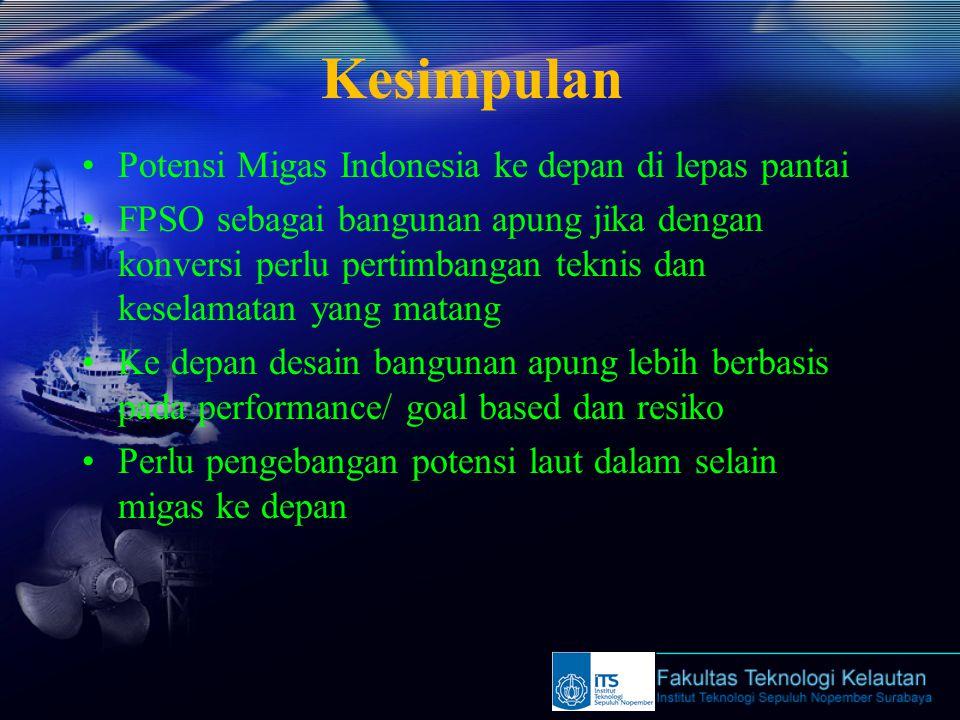 Kesimpulan Potensi Migas Indonesia ke depan di lepas pantai FPSO sebagai bangunan apung jika dengan konversi perlu pertimbangan teknis dan keselamatan yang matang Ke depan desain bangunan apung lebih berbasis pada performance/ goal based dan resiko Perlu pengebangan potensi laut dalam selain migas ke depan
