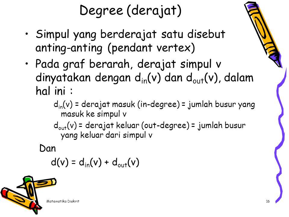Matematika Diskrit16 Degree (derajat) Simpul yang berderajat satu disebut anting-anting (pendant vertex) Pada graf berarah, derajat simpul v dinyataka