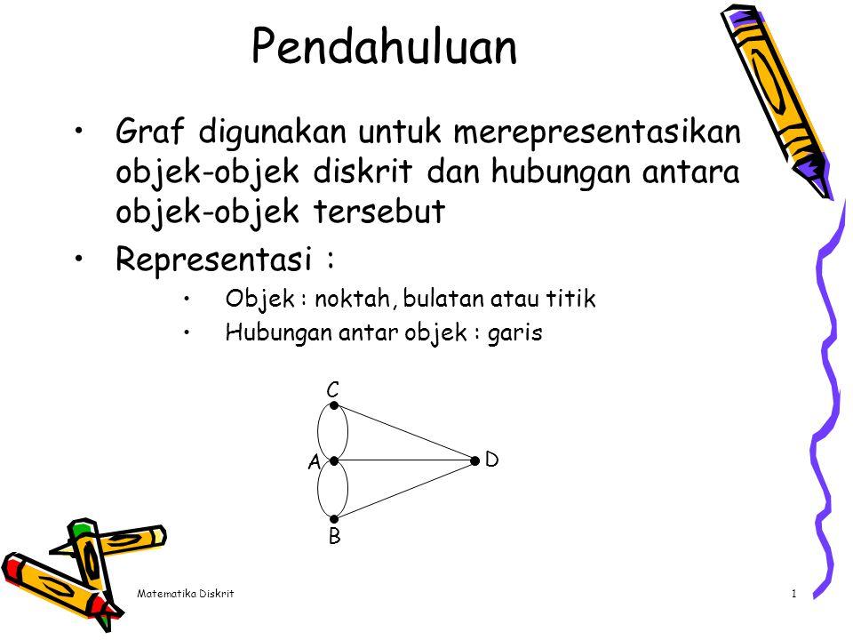 Matematika Diskrit2 Definisi Graf G didefinisikan sebagai pasangan himpunan (V,E) Ditulis dengan notasi : G = (V, E) V = himpunan tidak kosong dari simpul-simpul (vertices atau node) E = himpunan sisi (edges atau arcs) yang menghubungkan sepasang simpul Graf trivial adalah :  Graf hanya mempunyai satu buah simpul tanpa sebuah sisi Simpul pada graf dinomori dengan :  Huruf (a,b, …,z) atau  Bilangan (1, 2, … ) atau  Huruf dan bilangan (a1, a2, ….