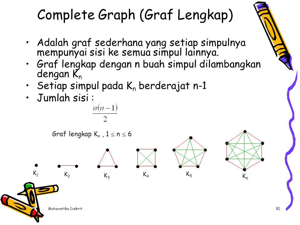 Matematika Diskrit30 Complete Graph (Graf Lengkap) Adalah graf sederhana yang setiap simpulnya mempunyai sisi ke semua simpul lainnya. Graf lengkap de