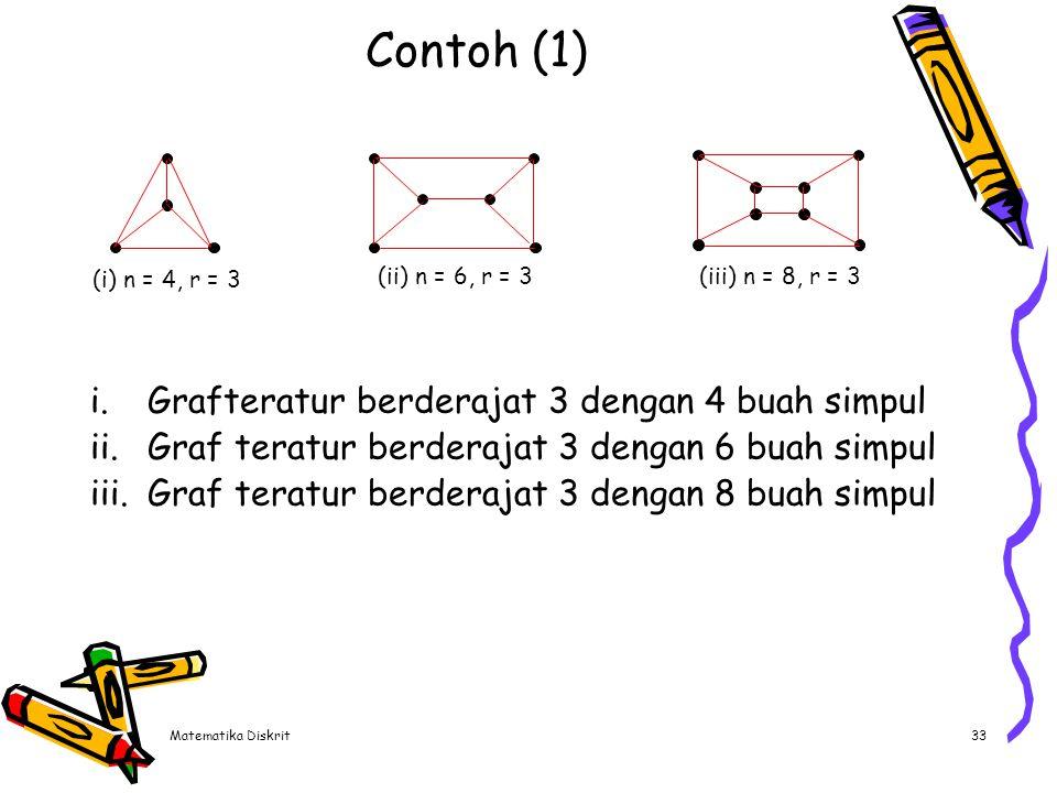 Matematika Diskrit33 Contoh (1) i.Grafteratur berderajat 3 dengan 4 buah simpul ii.Graf teratur berderajat 3 dengan 6 buah simpul iii.Graf teratur ber