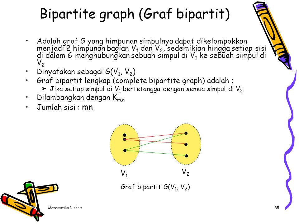 Matematika Diskrit35 Bipartite graph (Graf bipartit) Adalah graf G yang himpunan simpulnya dapat dikelompokkan menjadi 2 himpunan bagian V 1 dan V 2,