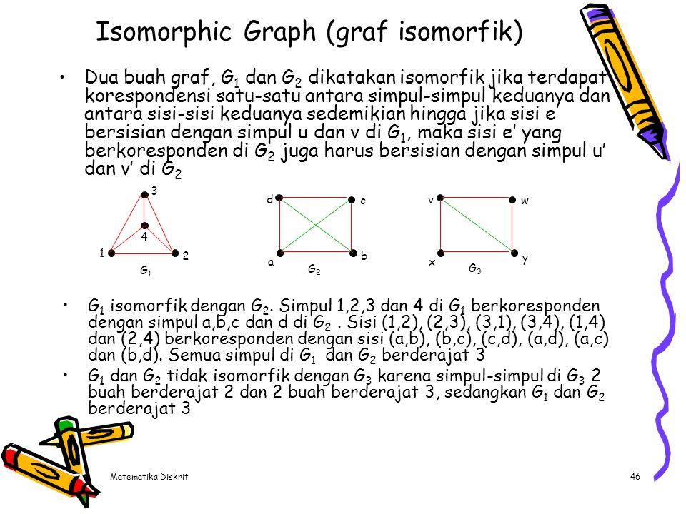 Matematika Diskrit46 Isomorphic Graph (graf isomorfik) Dua buah graf, G 1 dan G 2 dikatakan isomorfik jika terdapat korespondensi satu-satu antara sim