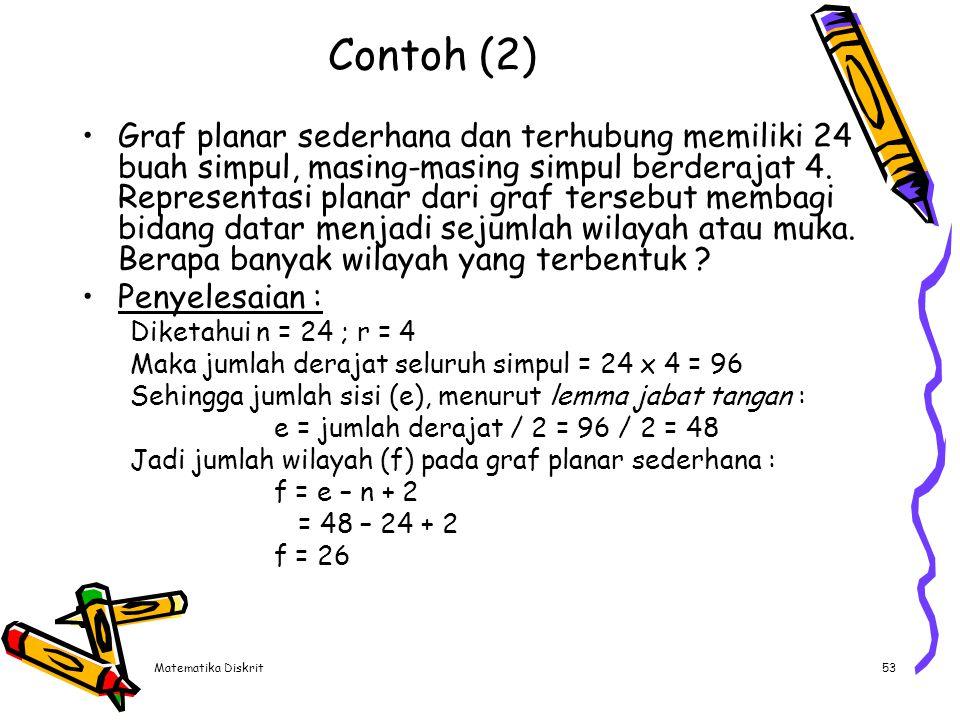 Matematika Diskrit53 Contoh (2) Graf planar sederhana dan terhubung memiliki 24 buah simpul, masing-masing simpul berderajat 4. Representasi planar da