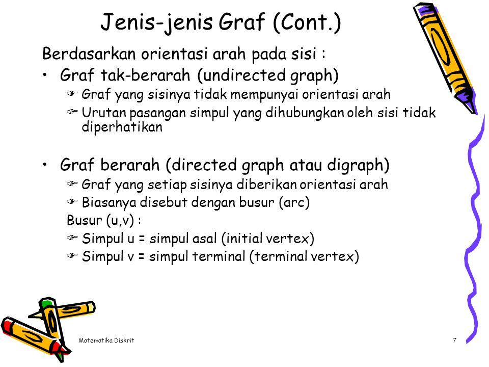 Matematika Diskrit58 Teorema Kuratowski Graf Kuratowski I, yaitu graf lengkap yang mempunyai 5 buah simpul (K 5 ) adalah graf tidak planar Graf Kuratowski II, yaitu graf terhubung teratur dengan 6 buah simpul dan 9 buah sisi (K 3,3 ) adalah graf tidak planar Sifat graf Kuratowski :  Kedua graf Kuratowski adalah graf teratur  Kedua graf Kuratowski adalah graf tidak planar  Penghapusan sisi atau simpul dari graf Kuratowski menyebabkan menjadi graf planar  Graf Kuratowski I adalah graf tidak planar dengan jumlah simpul minimum dan graf Kuratowski II adalah graf tidak planar dengan jumlah sisi minimum.