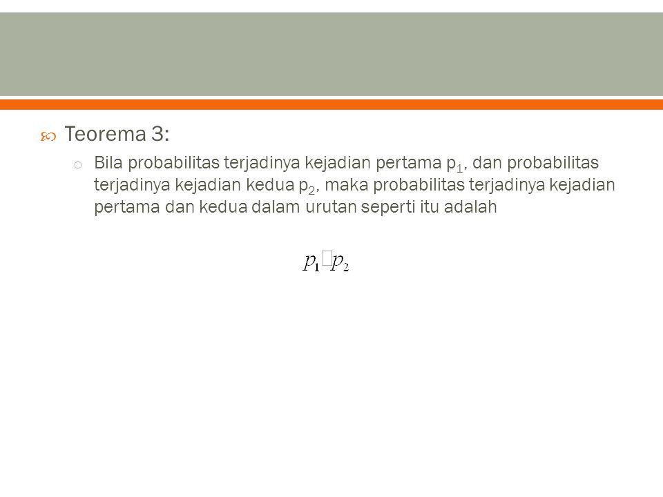  Teorema 3: o Bila probabilitas terjadinya kejadian pertama p 1, dan probabilitas terjadinya kejadian kedua p 2, maka probabilitas terjadinya kejadian pertama dan kedua dalam urutan seperti itu adalah