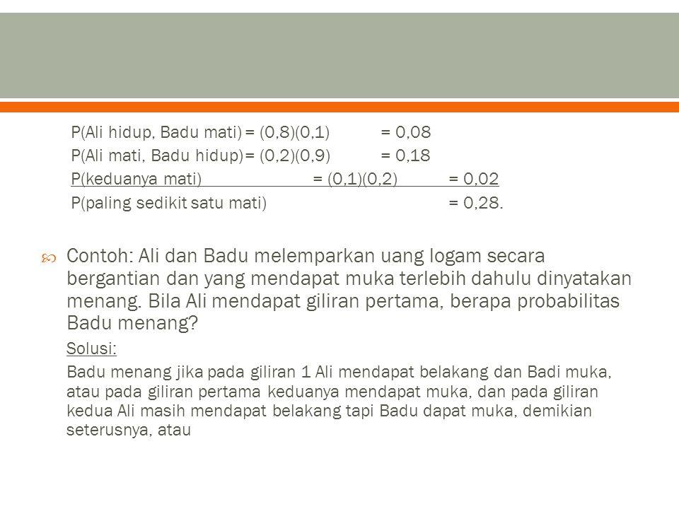 P(Ali hidup, Badu mati)= (0,8)(0,1)= 0,08 P(Ali mati, Badu hidup)= (0,2)(0,9)= 0,18 P(keduanya mati)= (0,1)(0,2)= 0,02 P(paling sedikit satu mati)= 0,28.
