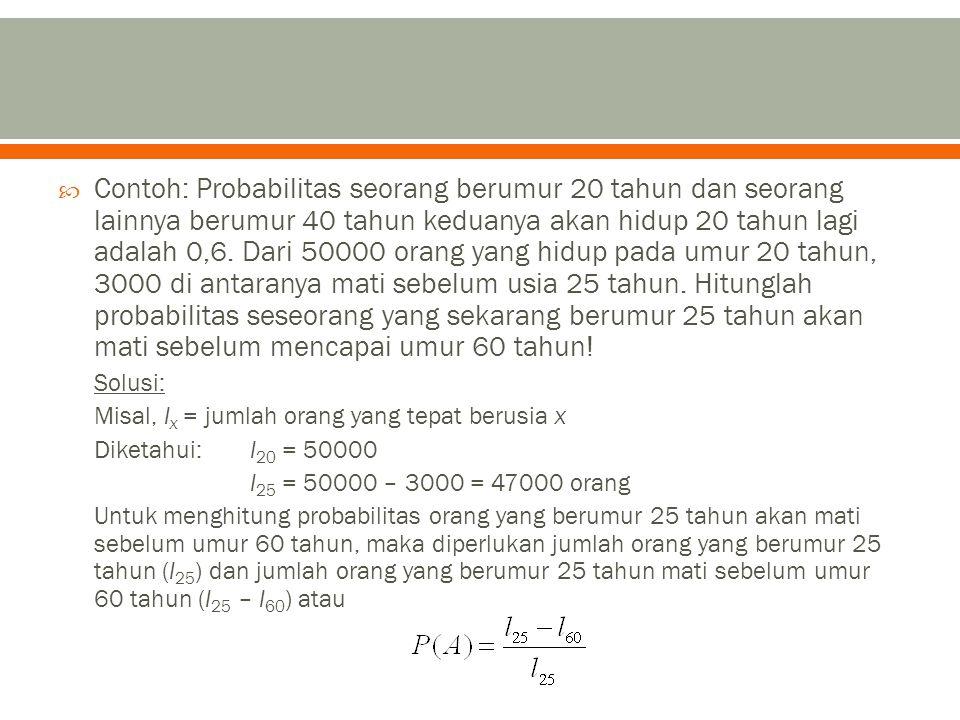 Contoh: Probabilitas seorang berumur 20 tahun dan seorang lainnya berumur 40 tahun keduanya akan hidup 20 tahun lagi adalah 0,6.