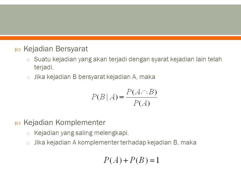  Teorema 1: o Bila p 1, p 2, p 3, …, p n merupakan probabilitas terjadinya n kejadian yang saling lepas, maka probabilitas salah satu dari kejadian adalah  Teorema 2: o Bila p 1, p 2, p 3, …, p n merupakan probabilitas terjadinya n kejadian yang saling bebas, maka probabilitas salah satu dari kejadian adalah