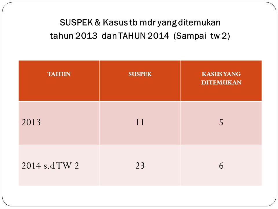 SUSPEK & Kasus tb mdr yang ditemukan tahun 2013 dan TAHUN 2014 (Sampai tw 2) TAHUNSUSPEKKASUS YANG DITEMUKAN 2013115 2014 s.d TW 2236