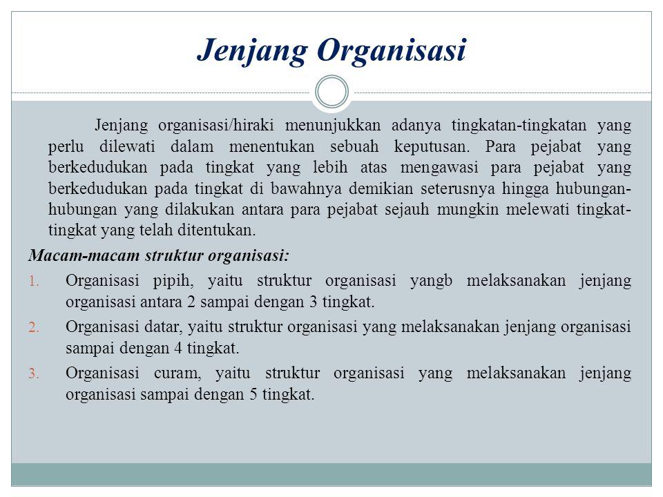 Jenjang Organisasi Jenjang organisasi/hiraki menunjukkan adanya tingkatan-tingkatan yang perlu dilewati dalam menentukan sebuah keputusan. Para pejaba