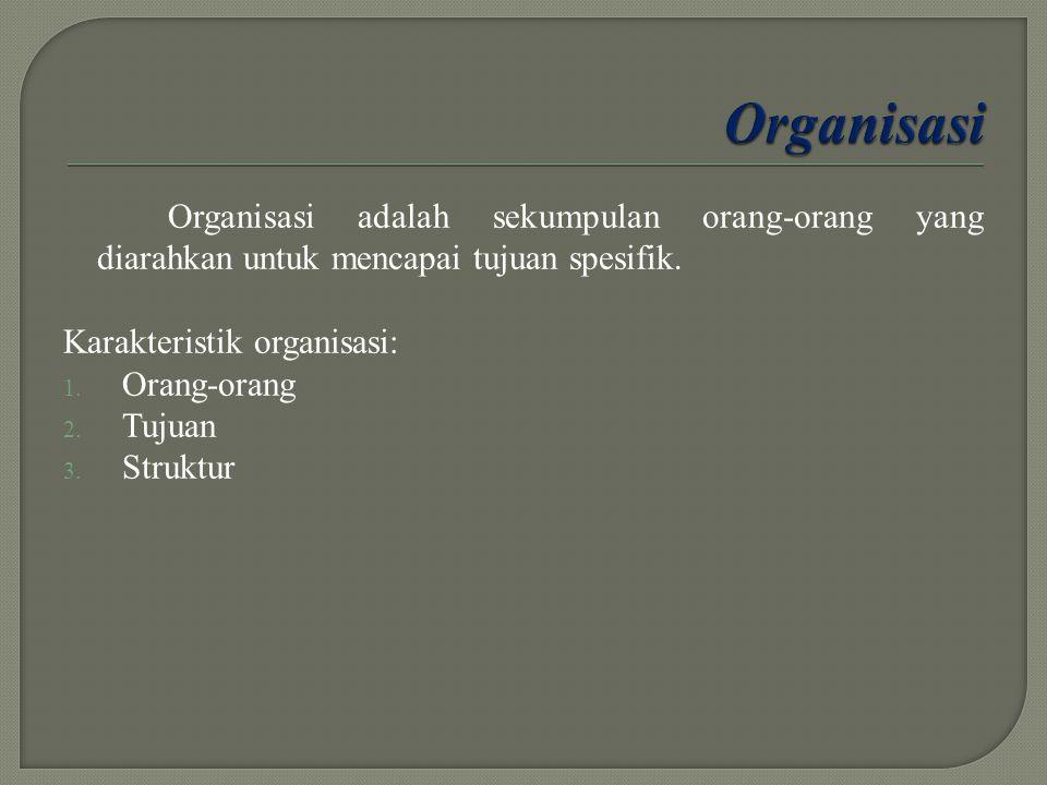 Organisasi adalah sekumpulan orang-orang yang diarahkan untuk mencapai tujuan spesifik. Karakteristik organisasi: 1. Orang-orang 2. Tujuan 3. Struktur