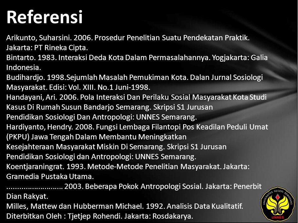 Referensi Arikunto, Suharsini. 2006. Prosedur Penelitian Suatu Pendekatan Praktik. Jakarta: PT Rineka Cipta. Bintarto. 1983. Interaksi Deda Kota Dalam