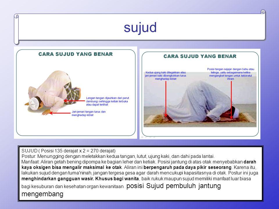 sujud SUJUD ( Posisi 135 derajat x 2 = 270 derajat) Postur: Menungging dengan meletakkan kedua tangan, lutut, ujung kaki, dan dahi pada lantai. Manfaa