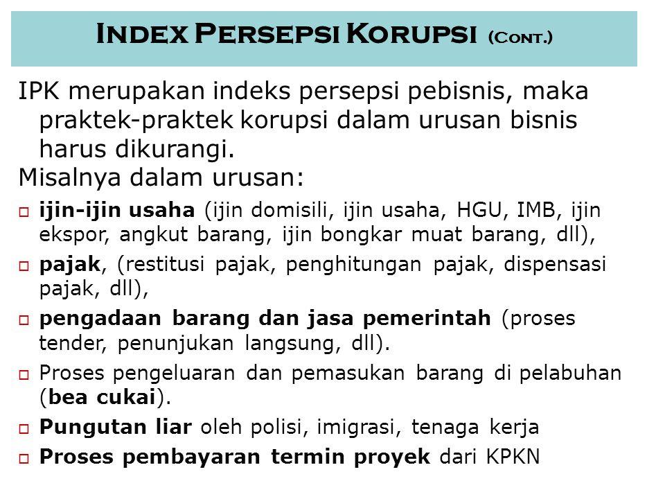 12 Index Persepsi Korupsi (Cont.) IPK merupakan indeks persepsi pebisnis, maka praktek-praktek korupsi dalam urusan bisnis harus dikurangi.