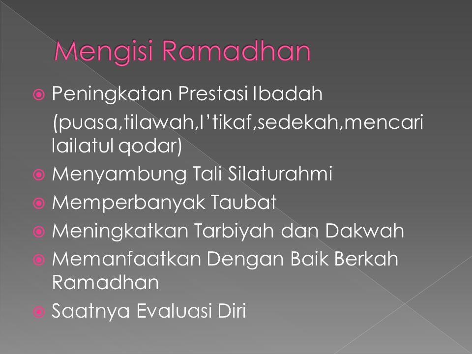  Peningkatan Prestasi Ibadah (puasa,tilawah,I'tikaf,sedekah,mencari lailatul qodar)  Menyambung Tali Silaturahmi  Memperbanyak Taubat  Meningkatkan Tarbiyah dan Dakwah  Memanfaatkan Dengan Baik Berkah Ramadhan  Saatnya Evaluasi Diri