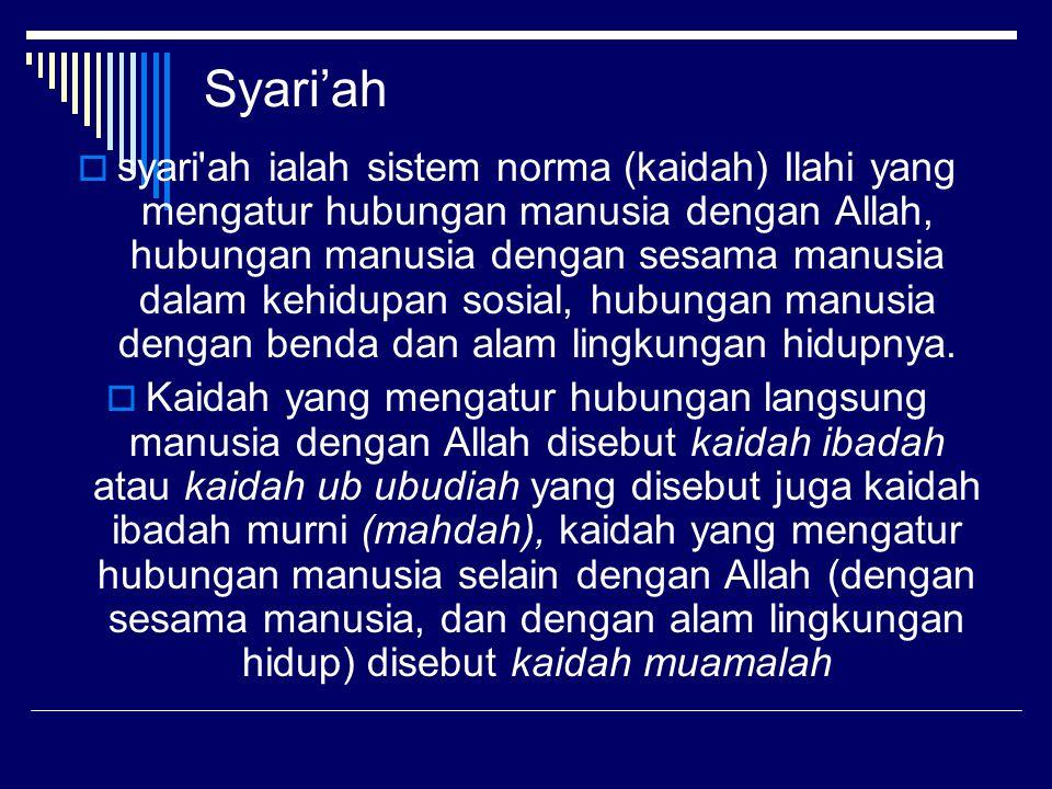 Syari'ah  syari'ah ialah sistem norma (kaidah) Ilahi yang mengatur hubungan manusia dengan Allah, hubungan manusia dengan sesama manusia dalam kehidu