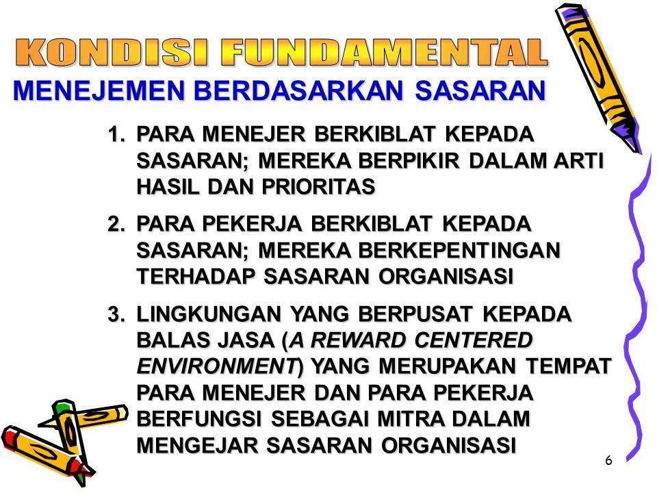 6 1.PARA MENEJER BERKIBLAT KEPADA SASARAN; MEREKA BERPIKIR DALAM ARTI HASIL DAN PRIORITAS 2.PARA PEKERJA BERKIBLAT KEPADA SASARAN; MEREKA BERKEPENTINGAN TERHADAP SASARAN ORGANISASI 3.LINGKUNGAN YANG BERPUSAT KEPADA BALAS JASA (A REWARD CENTERED ENVIRONMENT) YANG MERUPAKAN TEMPAT PARA MENEJER DAN PARA PEKERJA BERFUNGSI SEBAGAI MITRA DALAM MENGEJAR SASARAN ORGANISASI MENEJEMEN BERDASARKAN SASARAN