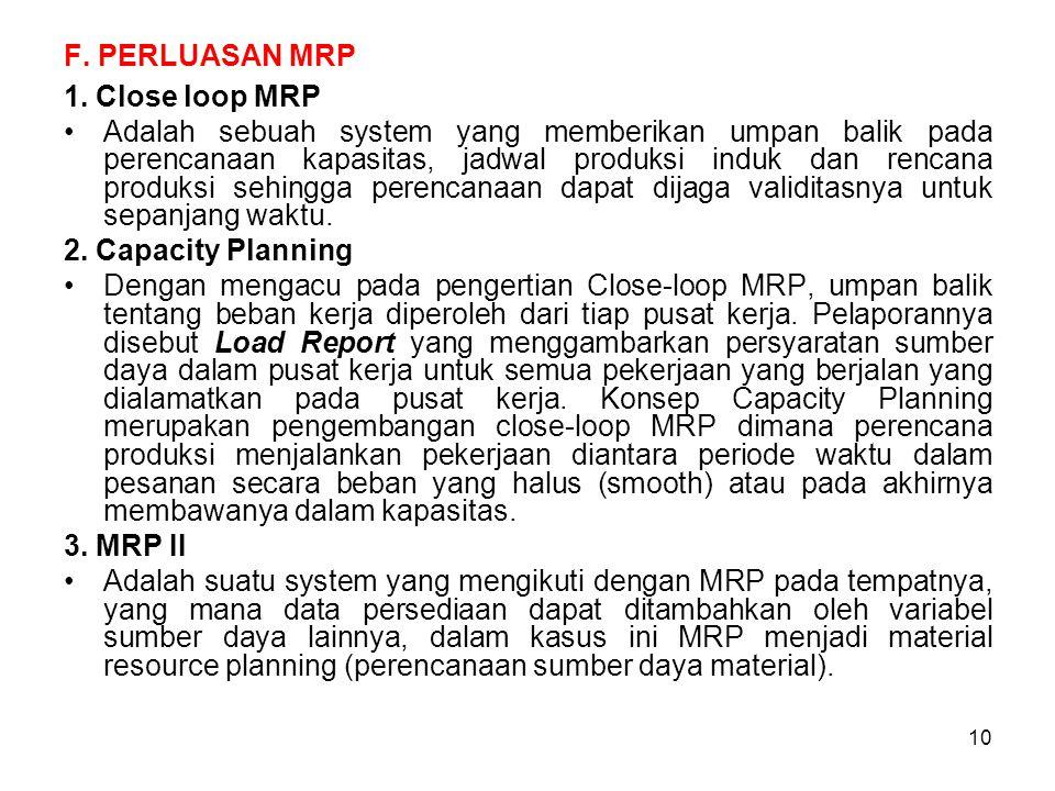 10 F. PERLUASAN MRP 1. Close loop MRP Adalah sebuah system yang memberikan umpan balik pada perencanaan kapasitas, jadwal produksi induk dan rencana p
