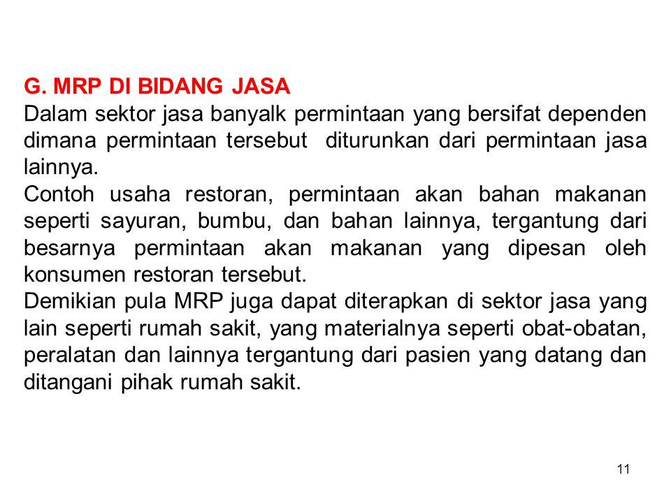 11 G. MRP DI BIDANG JASA Dalam sektor jasa banyalk permintaan yang bersifat dependen dimana permintaan tersebut diturunkan dari permintaan jasa lainny