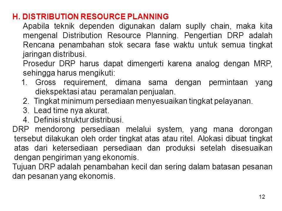 12 H. DISTRIBUTION RESOURCE PLANNING Apabila teknik dependen digunakan dalam suplly chain, maka kita mengenal Distribution Resource Planning. Pengerti