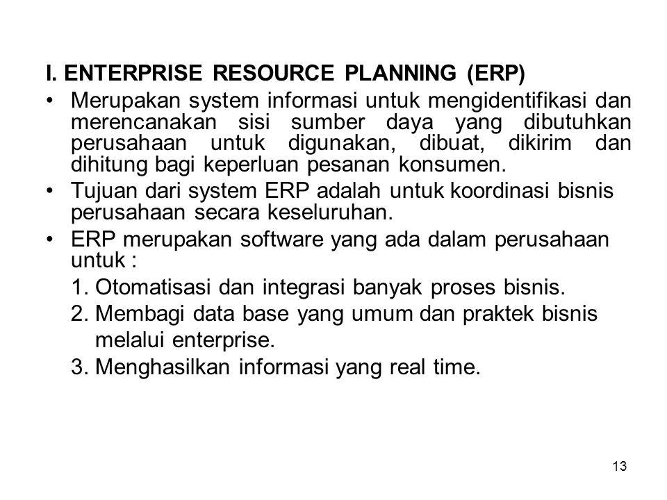 13 I. ENTERPRISE RESOURCE PLANNING (ERP) Merupakan system informasi untuk mengidentifikasi dan merencanakan sisi sumber daya yang dibutuhkan perusahaa
