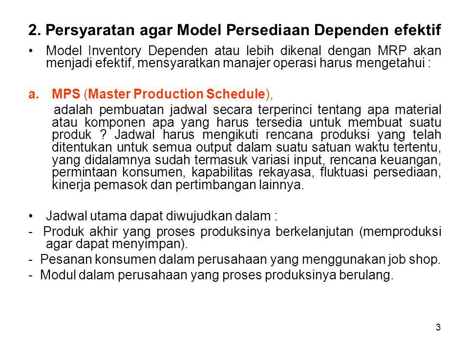 3 2. Persyaratan agar Model Persediaan Dependen efektif Model Inventory Dependen atau lebih dikenal dengan MRP akan menjadi efektif, mensyaratkan mana