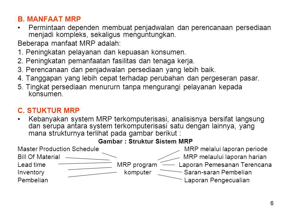 6 B. MANFAAT MRP Permintaan dependen membuat penjadwalan dan perencanaan persediaan menjadi kompleks, sekaligus menguntungkan. Beberapa manfaat MRP ad