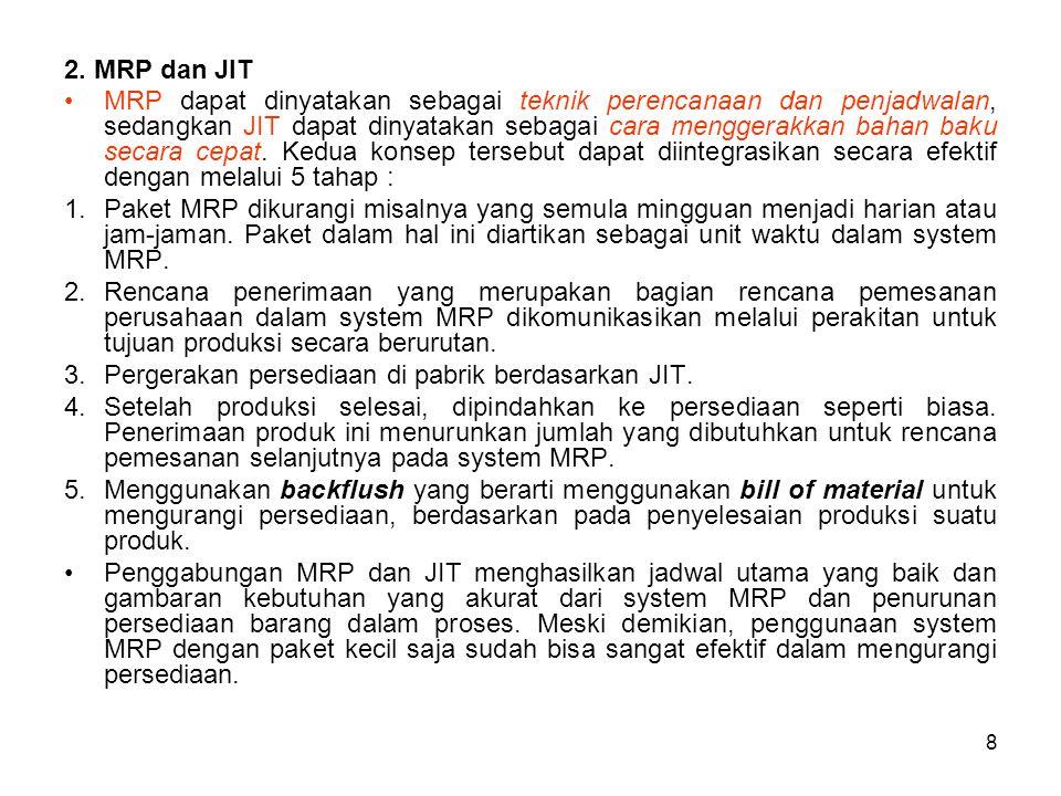 8 2. MRP dan JIT MRP dapat dinyatakan sebagai teknik perencanaan dan penjadwalan, sedangkan JIT dapat dinyatakan sebagai cara menggerakkan bahan baku
