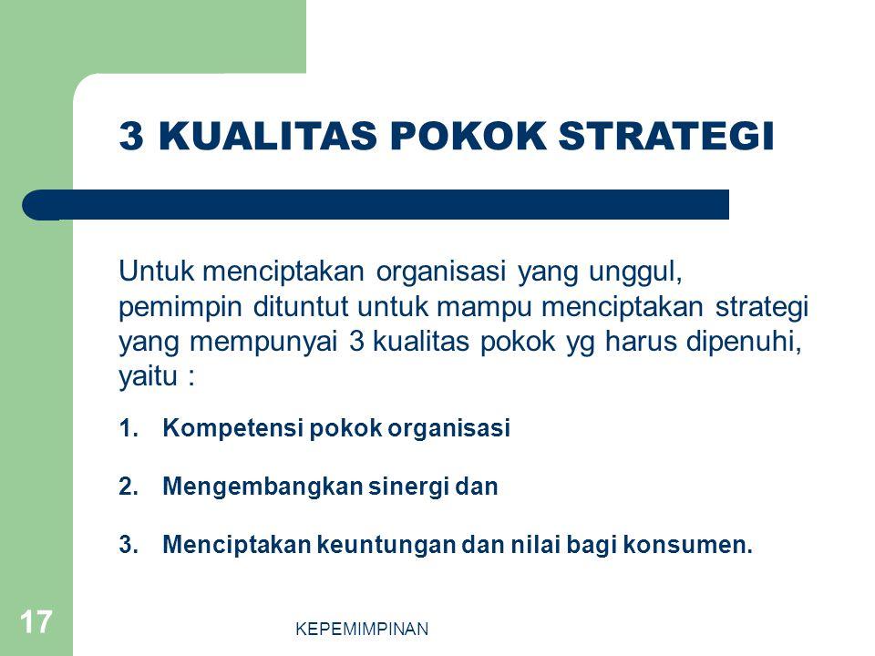 KEPEMIMPINAN 17 1.Kompetensi pokok organisasi 2.Mengembangkan sinergi dan 3.Menciptakan keuntungan dan nilai bagi konsumen. 3 KUALITAS POKOK STRATEGI
