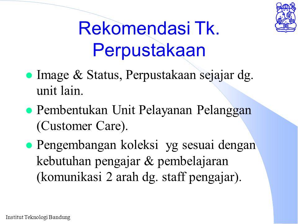 Institut Teknologi Bandung Rekomendasi Tk. Perpustakaan l Image & Status, Perpustakaan sejajar dg. unit lain. l Pembentukan Unit Pelayanan Pelanggan (