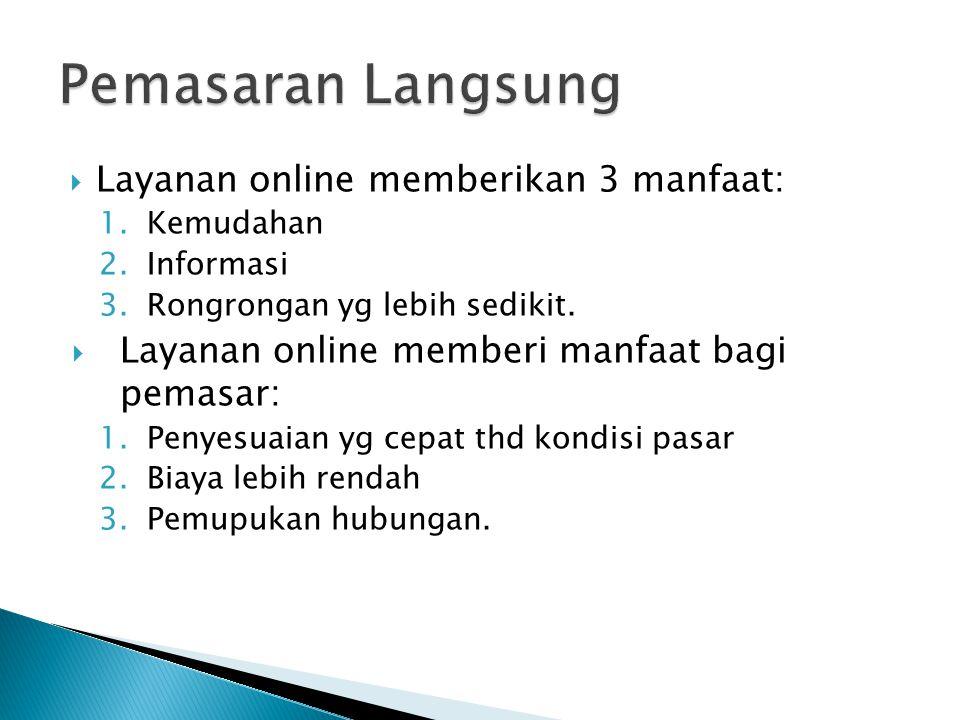  Layanan online memberikan 3 manfaat: 1.Kemudahan 2.Informasi 3.Rongrongan yg lebih sedikit.  Layanan online memberi manfaat bagi pemasar: 1.Penyesu