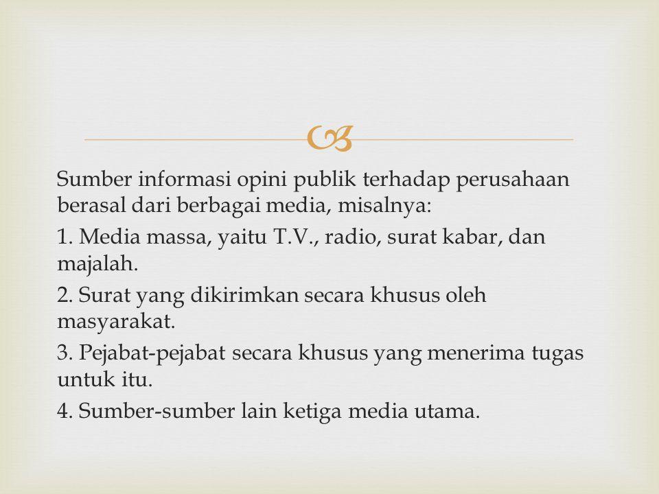  Sumber informasi opini publik terhadap perusahaan berasal dari berbagai media, misalnya: 1. Media massa, yaitu T.V., radio, surat kabar, dan majalah