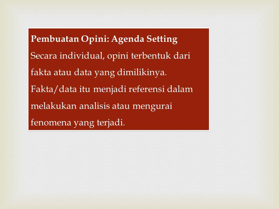 Pembuatan Opini: Agenda Setting Secara individual, opini terbentuk dari fakta atau data yang dimilikinya. Fakta/data itu menjadi referensi dalam melak